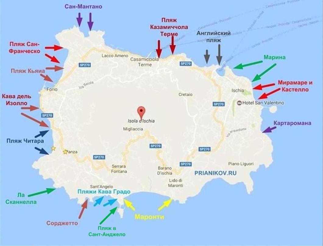 Пляжи Искьи на карте