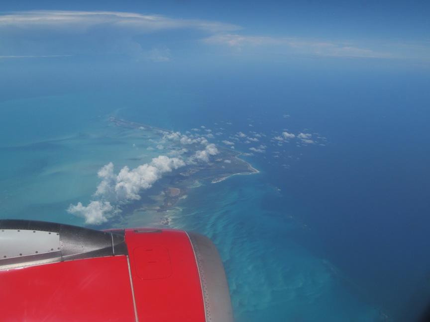 Карибское море, фото из самолёта