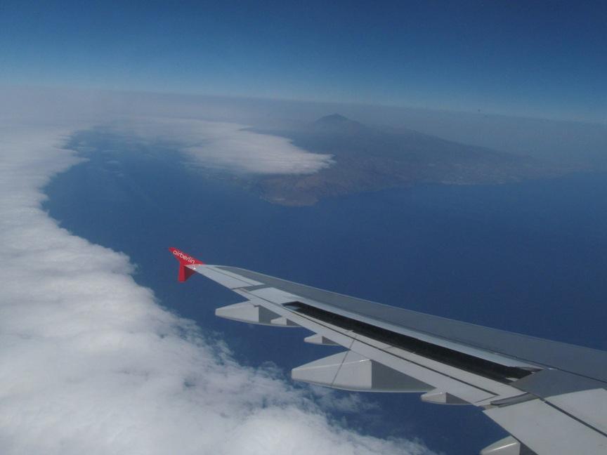 Фото из самолёта на вулкан Тейде