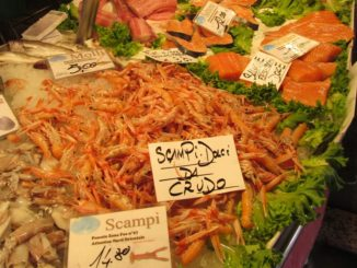 Креветки в Венеции, цены на рынке