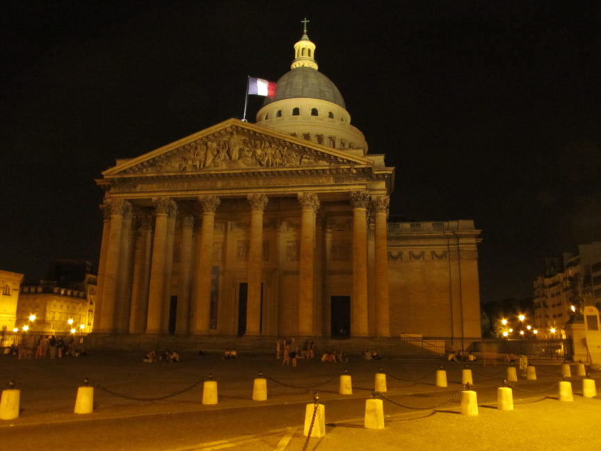 Пантеон в Париже ночное фото