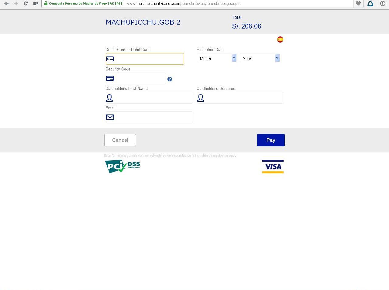 страница оплаты билета в мачу-пикчу онлайн