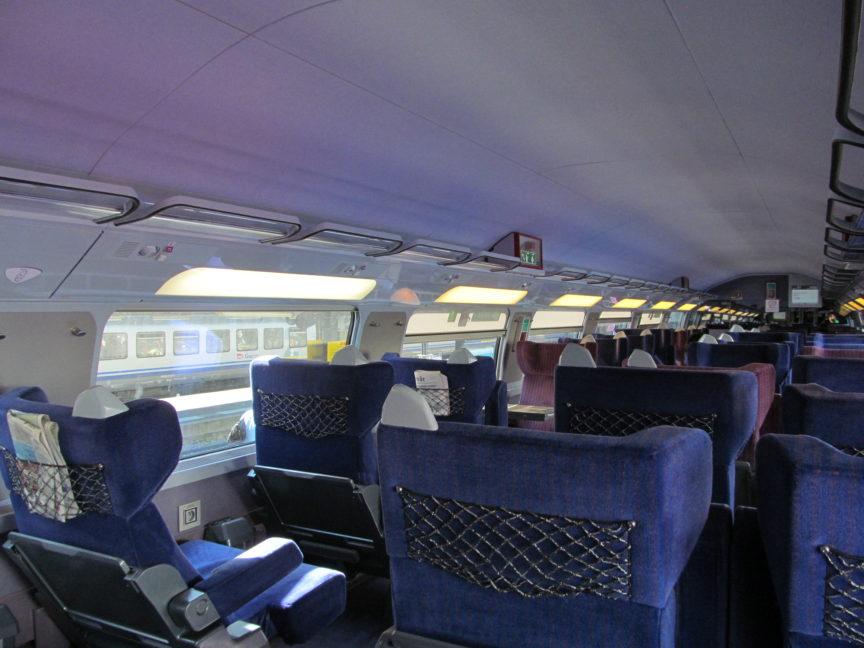 Внутри вагона поезда TGV
