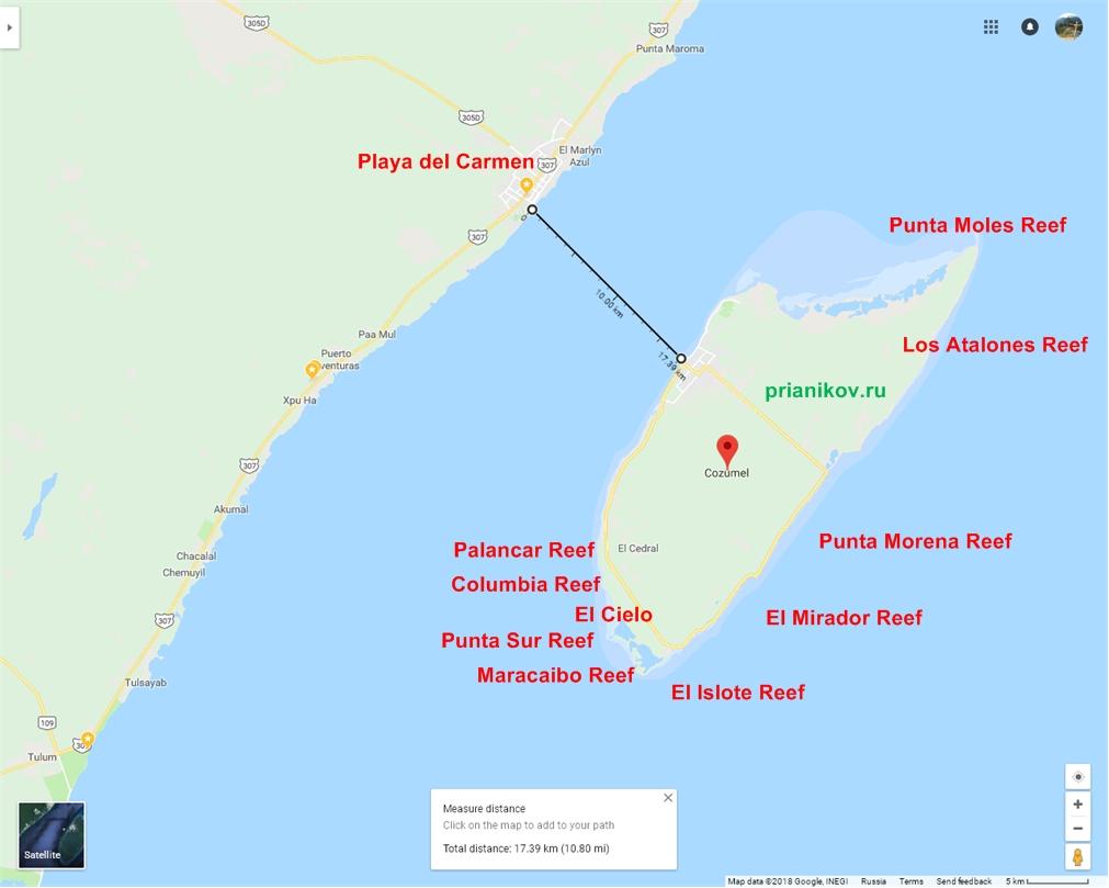 Карта, Косумель, рифы
